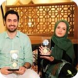 مهدی یراحی (خواننده) و گلاره عباسی (بازیگر) در برنامه صبح خلیج فارس