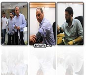 عکس های اهدای خون حامد بهداد و حمید فرخ نژاد به زلزله زدگان آذربایجان
